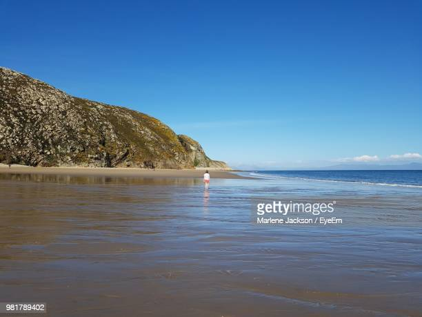 Rear View Of Woman On Shore At Beach Against Blue Sky
