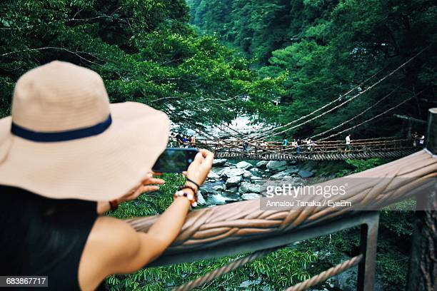 Rear View Of Woman Photographing Kazura Bridge In Forest