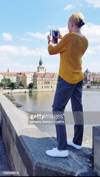 rear view of woman photographing through mobile phone while standing on retaining wall - photographing stock pictures, royalty-free photos & images