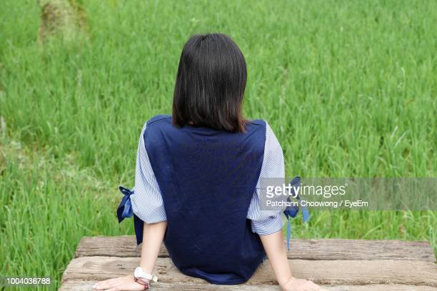 rear view of woman relaxing on bench in field - schwarzes haar stock-fotos und bilder