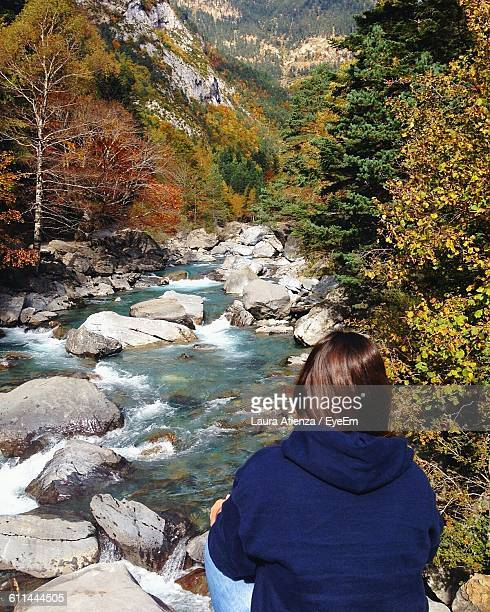 Rear View Of Woman Sitting Forest Stream