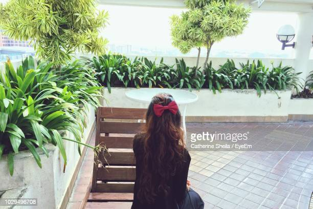 rear view of woman sitting on deck chair by plants - hair bow stock pictures, royalty-free photos & images