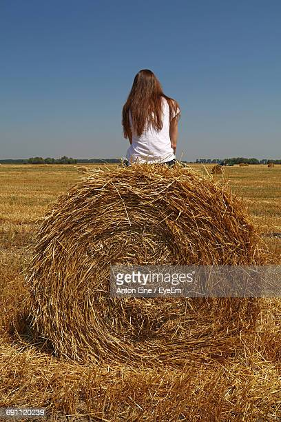 Rear View Of Woman Sitting On Hay Bale At Farm Against Clear Blue Sky