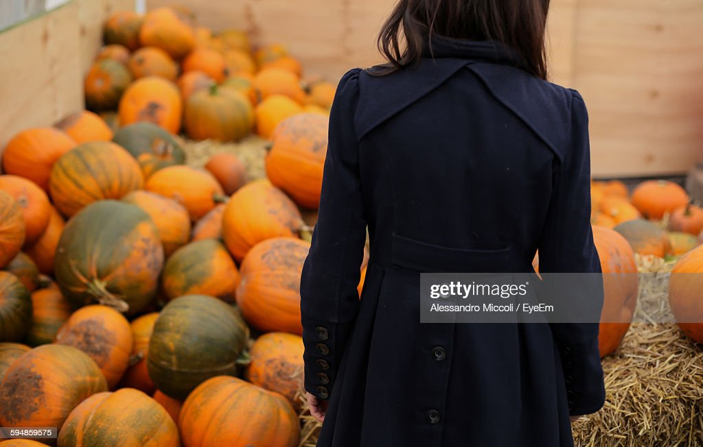 Rear View Of Woman Standing Against Pumpkins : Stock Photo