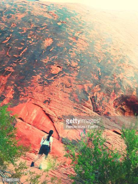 rear view of woman standing against rocky cliff at moapa valley - muro stock photos and pictures