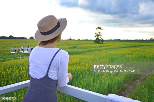 Rear View Of Woman Standing At Observation Point By Farm