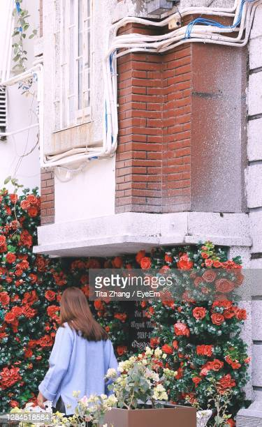rear view of woman standing by building - magnoliophyta foto e immagini stock