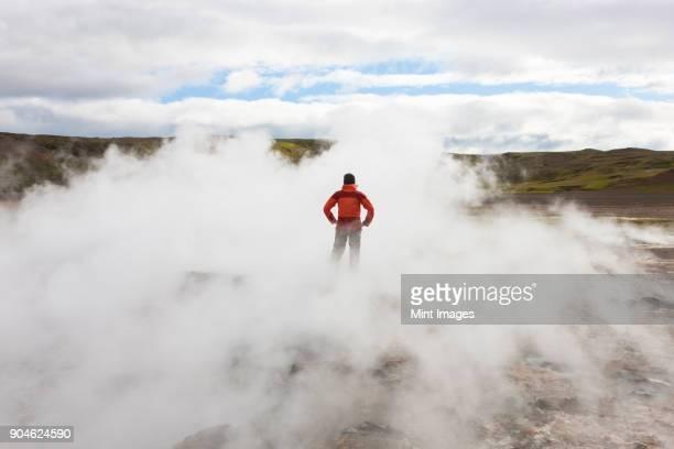 rear view of woman standing by geothermal pools, surrounded by steam. - vildmark bildbanksfoton och bilder