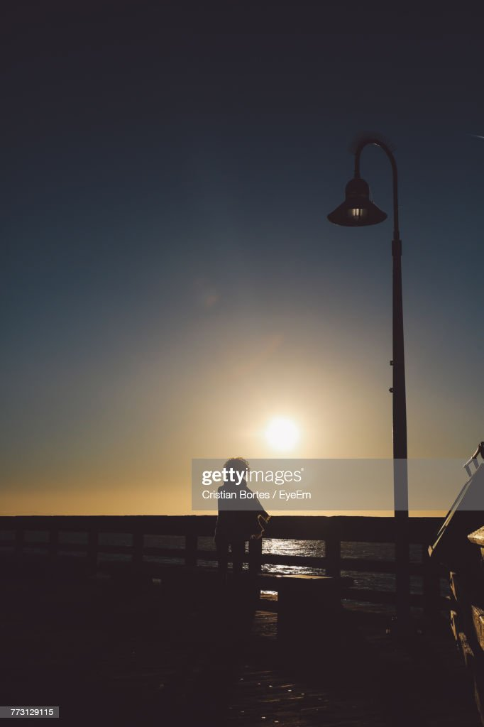Rear View Of Woman Standing By Railing Against Sea During Sunset : Photo