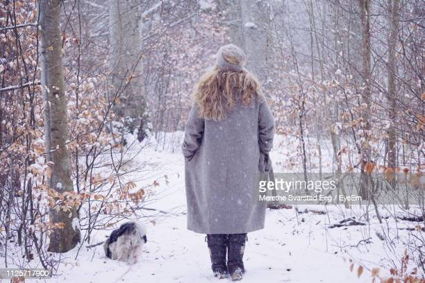 rear view of woman standing in forest during snowfall - overcoat stock pictures, royalty-free photos & images