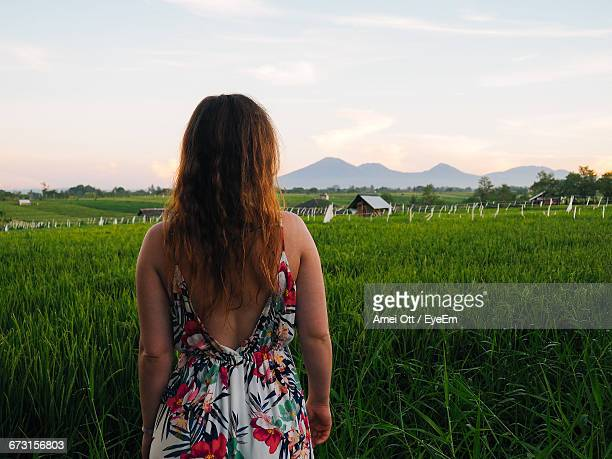 Rear View Of Woman Standing In Rice Field Against Sky During Sunrise