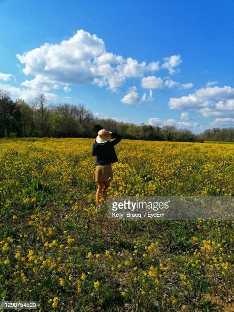 rear view of woman standing on field against sky - gironde stock pictures, royalty-free photos & images