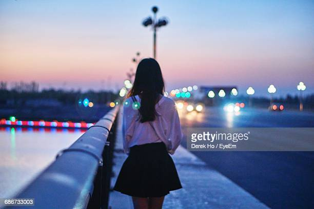 Rear View Of Woman Standing On Footpath On Bridge