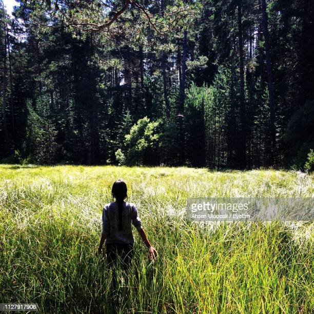 rear view of woman standing on grassy field against trees - anatolia stock pictures, royalty-free photos & images