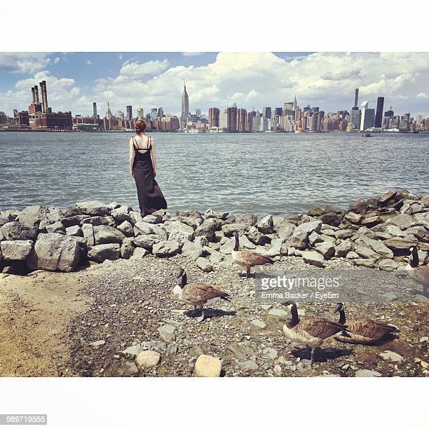 Rear View Of Woman Standing On Groyne With Geese At East River State Park Looking At Manhattan