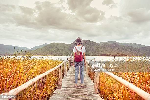 Rear View Of Woman Standing On Pier Over Grassy Field At Lake Against Mountains