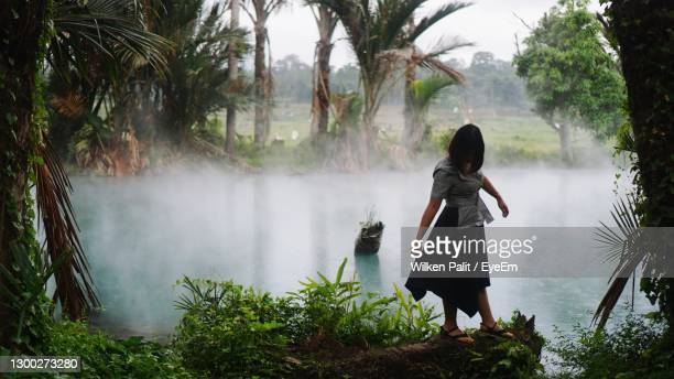 rear view of woman standing on riverbank - langowan stock pictures, royalty-free photos & images
