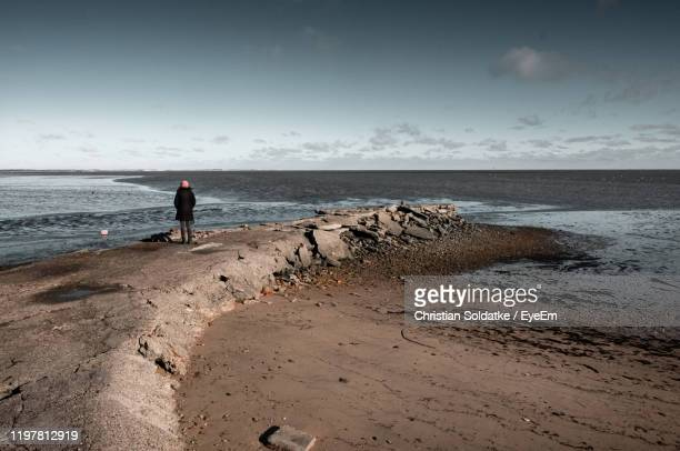 rear view of woman standing on rock at beach - christian soldatke stock pictures, royalty-free photos & images