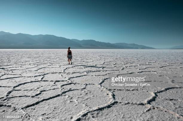rear view of woman standing on salt flat - christian soldatke stock pictures, royalty-free photos & images