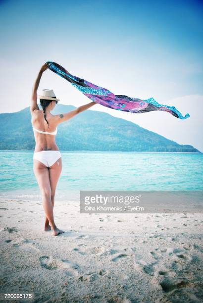 rear view of woman standing while holding sarong aloft at beach against sky - monokini photos et images de collection