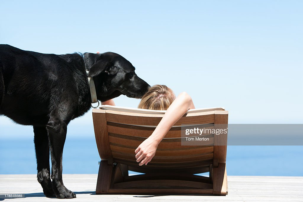 Prime Rear View Of Woman Sunbathing On Folding Chair And Petting Gmtry Best Dining Table And Chair Ideas Images Gmtryco