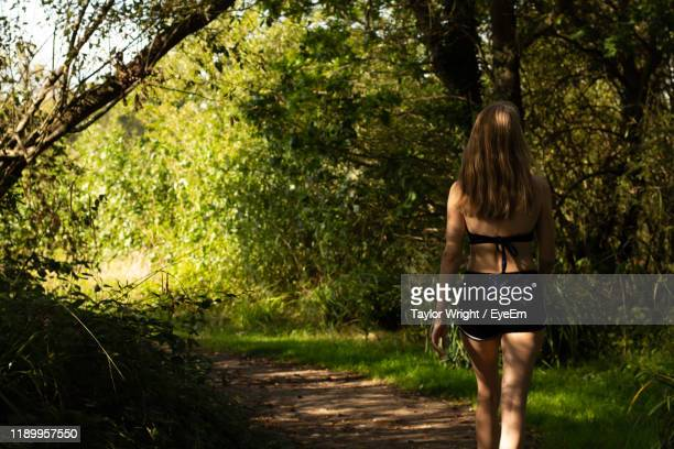 rear view of woman walking at forest - sandhurst stock pictures, royalty-free photos & images