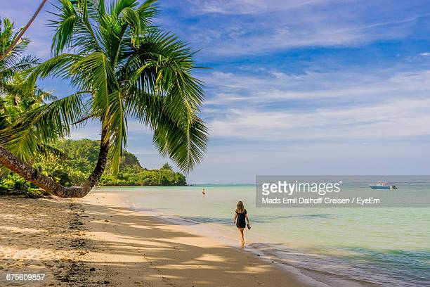 rear view of woman walking on beach - fiji stock pictures, royalty-free photos & images