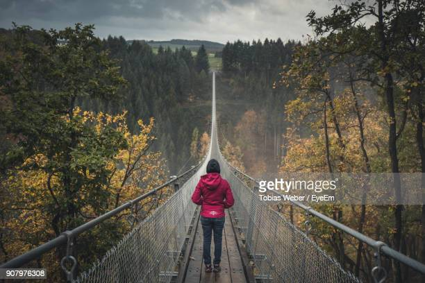 Rear View Of Woman Walking On Footbridge In Forest