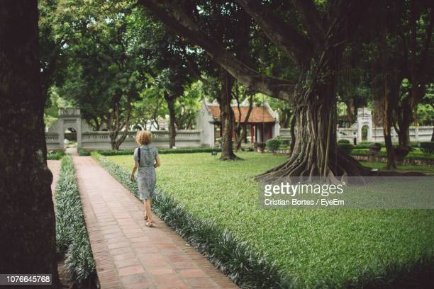 rear view of woman walking on footpath in park - bortes foto e immagini stock