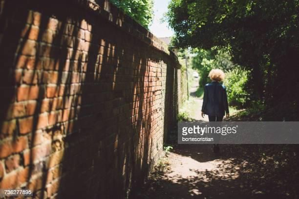 rear view of woman walking on footpath - bortes stockfoto's en -beelden