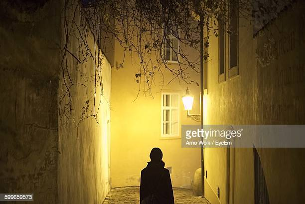 rear view of woman walking on illuminated alley amidst buildings - ガス燈 ストックフォトと画像