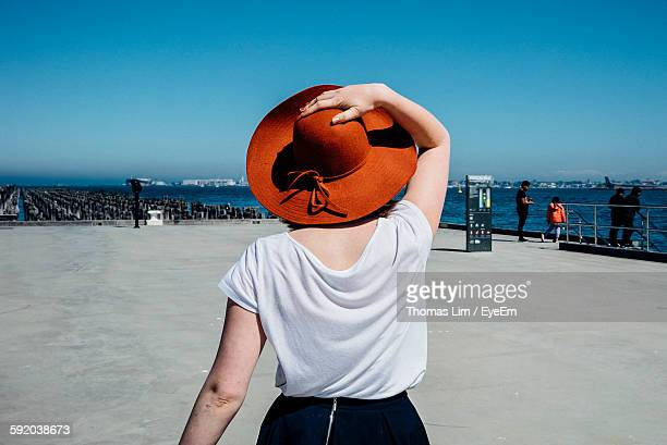 Rear View Of Woman Walking On Pier At Sea Against Sky