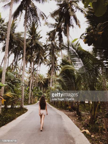 rear view of woman walking on road - shorts stock pictures, royalty-free photos & images