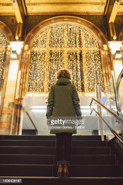 rear view of woman walking on stairs in train station - bortes stock pictures, royalty-free photos & images