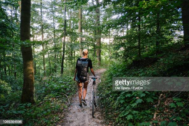 rear view of woman walking with bicycle on trail in forest - hannover stock-fotos und bilder