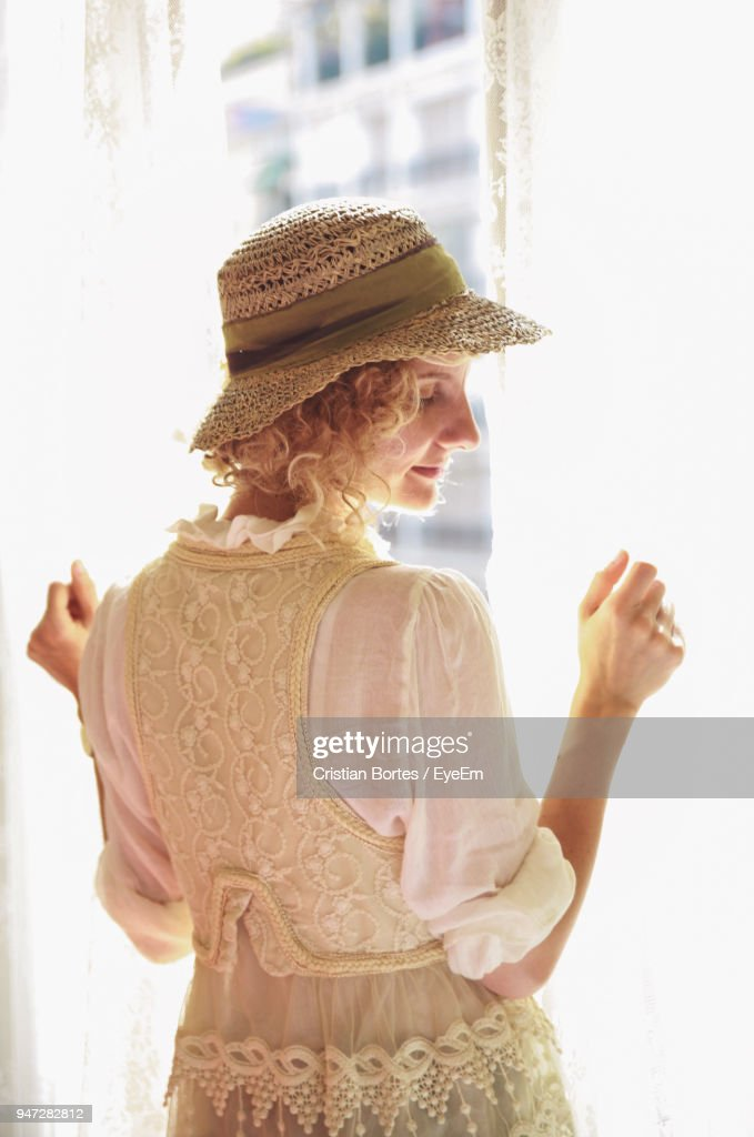 Rear View Of Woman Wearing Hat : Stock Photo