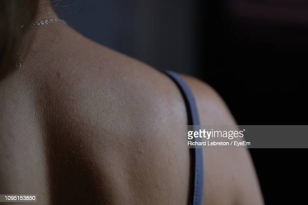 rear view of woman wearing lingerie - 人の背中 ストックフォトと画像