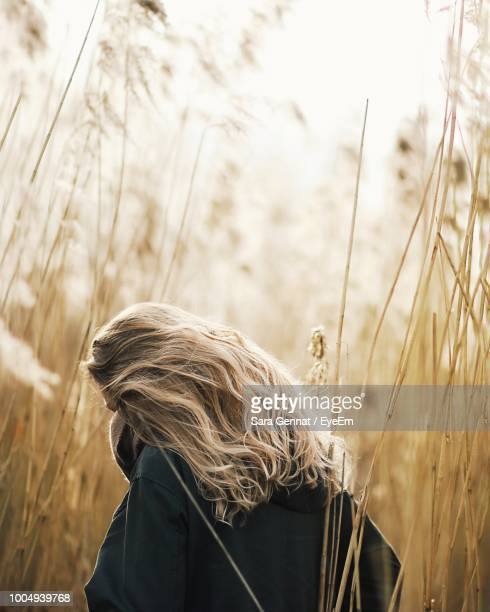 rear view of woman with blond hair standing amidst dry plants on field - capelli foto e immagini stock