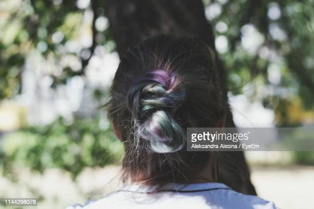 Rear View Of Woman With Highlights In Park