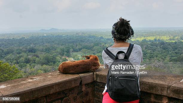 Rear View Of Woman With Stray Dog At Observation Point Against Sky