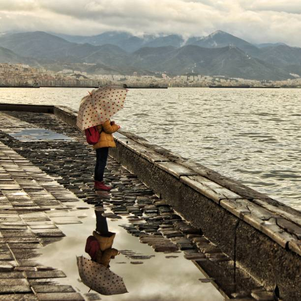 Rear View Of Woman With Umbrella On Water