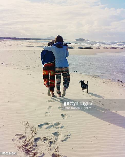 Rear View Of Women And Dog Walking On Beach