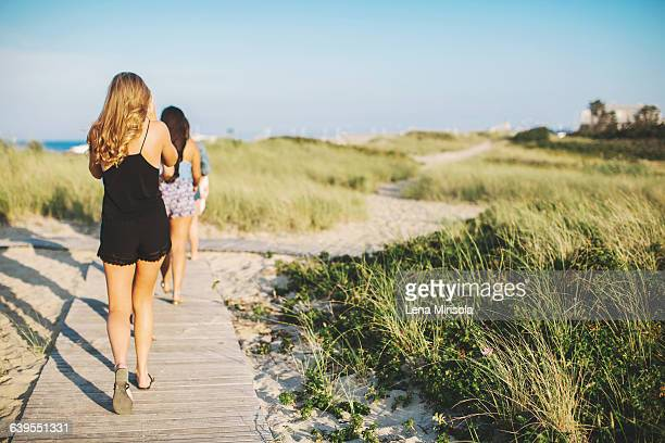 rear view of women at beach walking on coastal path - martha's_vineyard stock pictures, royalty-free photos & images