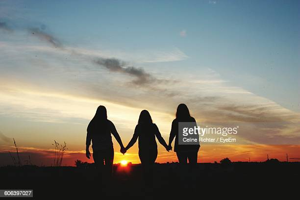 Rear View Of Women Standing Against Sky During Sunset