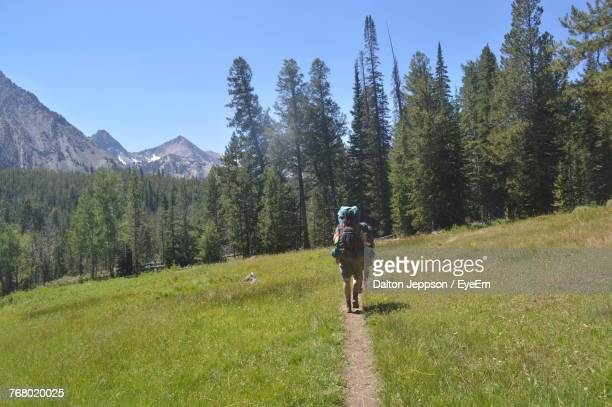 rear view of women walking on dirt trail - idaho falls stock photos and pictures
