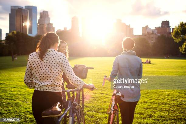 rear view of women walking with bicycles on field in central park - public park stock-fotos und bilder