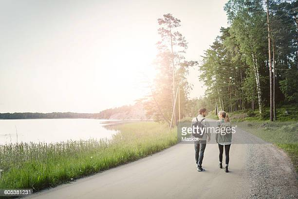 Rear view of wonderlust couple walking on road by lake against clear sky