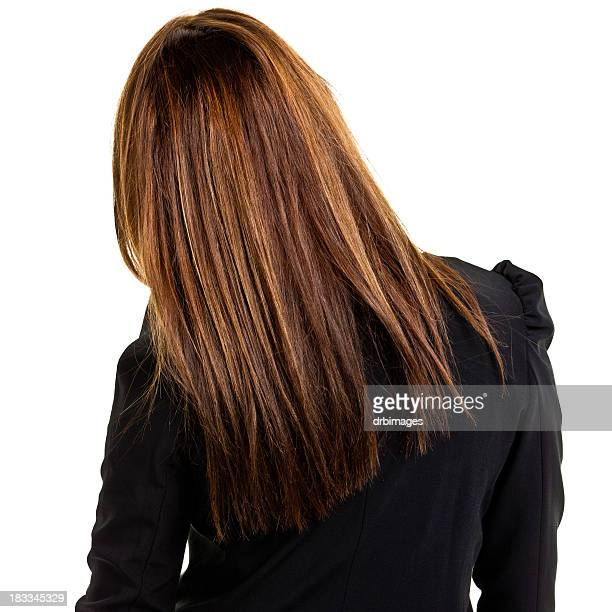 rear view of young businesswoman - hoofd stockfoto's en -beelden