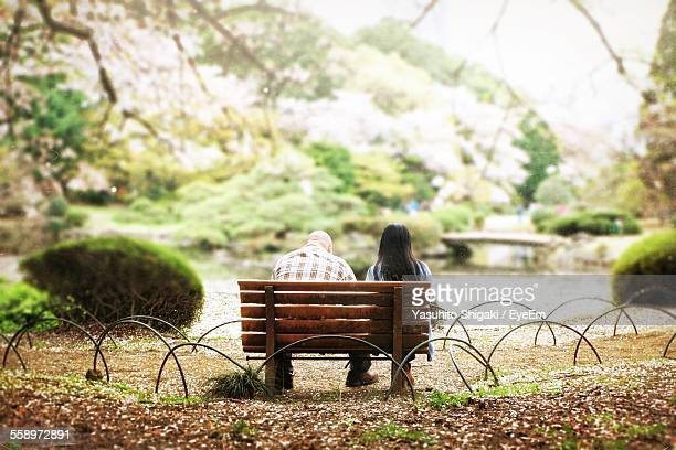 Rear View Of Young Couple Sitting On Bench In Park