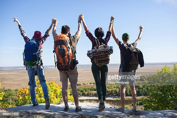 Rear view of young friends with arms raised standing on rock in forest